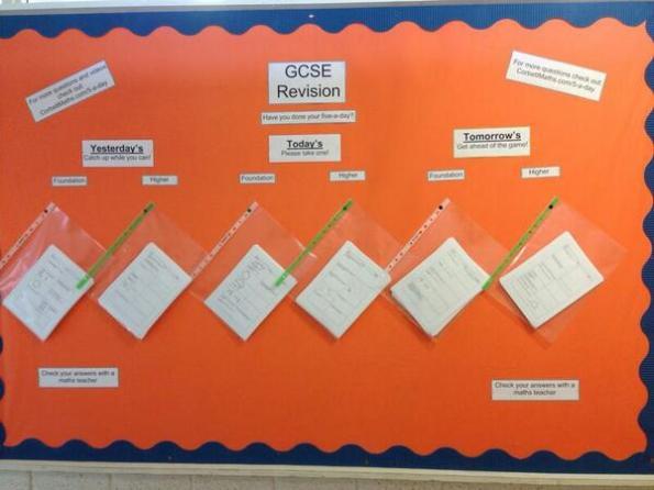 GCSE Revision Board at Dunclug College