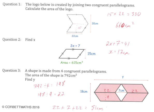 Area of a Parallelogram Answers – Area of a Parallelogram Worksheet